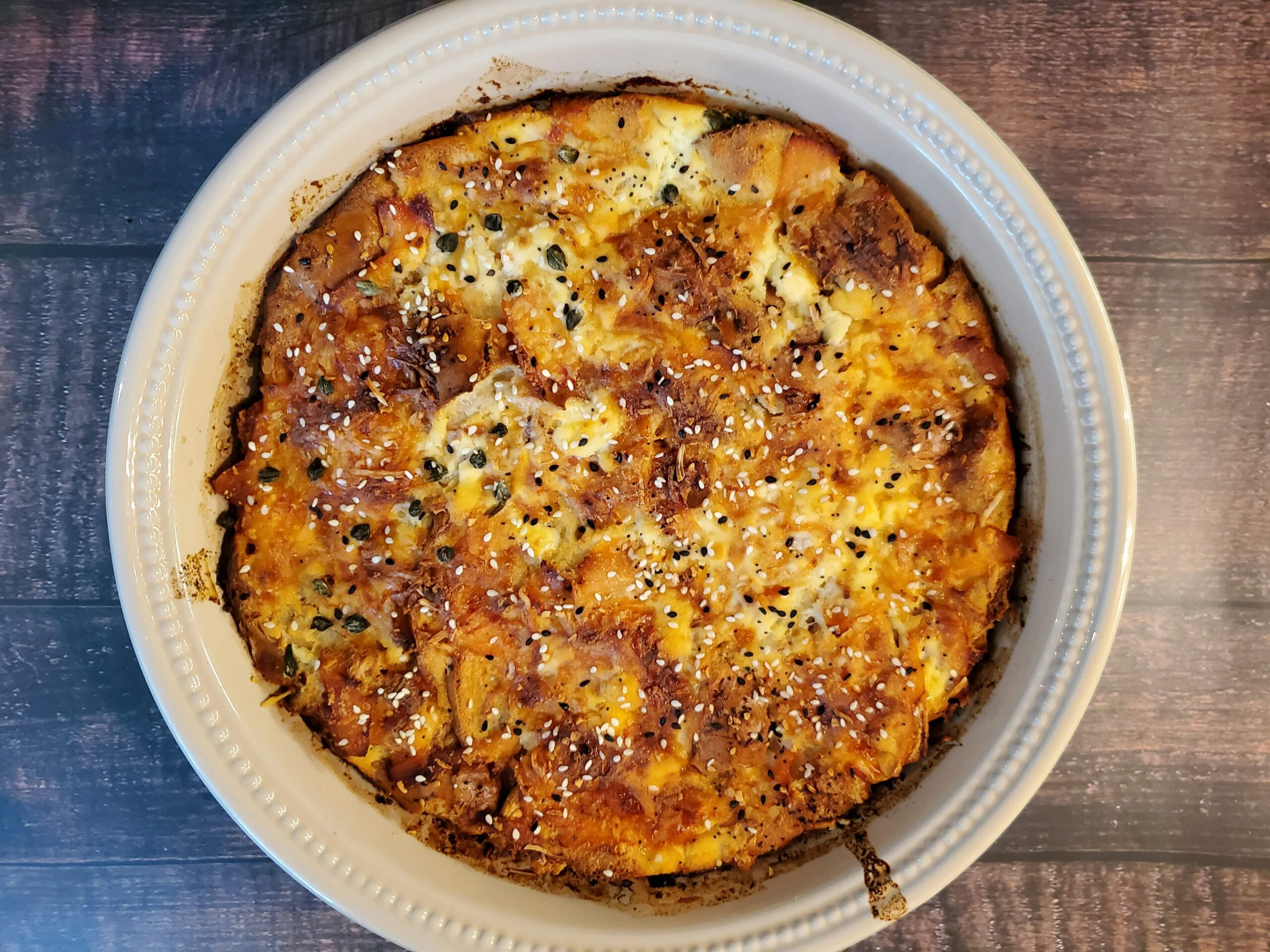 Salmon and Caper Everything Bagel Strata
